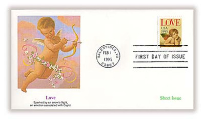 2948 / Love Cherub 32c Non - Denominated Sheet Issue / Love Stamp 1995 Fleetwood FDC
