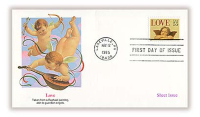 2958 / 55c Love - Cherub Sheet Issue / Love Stamp 1995 Fleetwood FDC