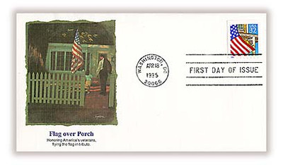 2920 / 32c Flag over Porch PSA Booklet Single 1995 Fleetwood FDC