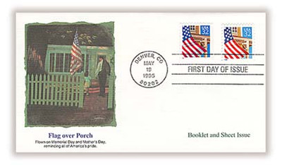 2897 and 2916 / 32c Flag over Porch Booklet and Sheet Issue Combination 1995 Fleetwood FDC