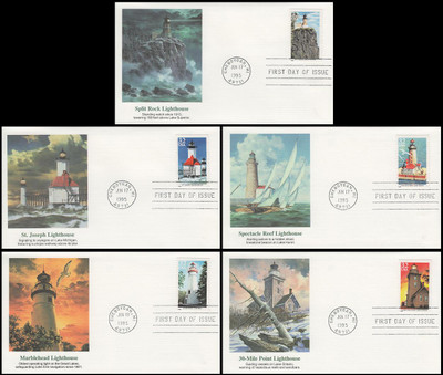 2969 - 2973 / 32c Great Lakes Lighthouses Set of 5 Fleetwood 1995 FDCs