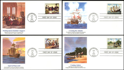 2620 - 2623 / 29c First Voyage of Christopher Columbus Set of 4 Fleetwood 1992 FDCs