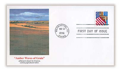 2921 / 32c Flag Over Porch PSA Booklet Single 1996 Fleetwood FDC