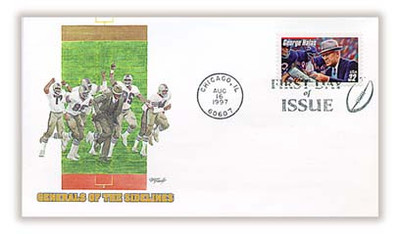 "3150 / 32c George ""Papa Bear"" Halas : Legendary Football Coach : Chicago, IL Postmark Fleetwood 1997 FDC"