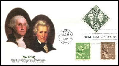 2592 / $5 1869 Essay : Washington and Jackson Combo Fleetwood 1994 FDC