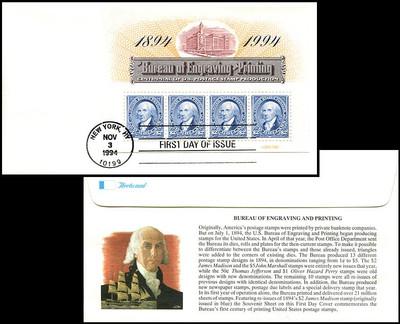 2875 / $2 x 4 Bureau of Engraving and Printing Centennial Souvenir Sheet 1994 Fleetwood FDC