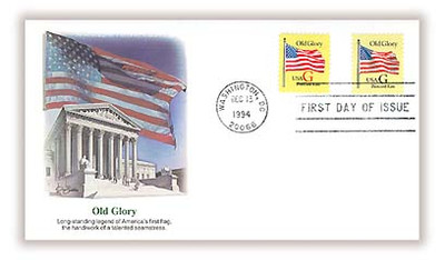 2879 - 2880 / G - Rate ( 20c ) Old Glory Postcard Rate Combo 1994 Fleetwood FDC