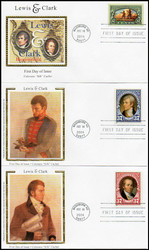 3854 - 3856 / 37c Lewis and Clark 11 City Postmarks Set of 33 Colorano Silk FDCs