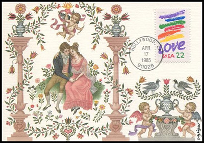 2143 / 22c Crayon Stripes Love Stamp 1985 Fleetwood Maximum Card