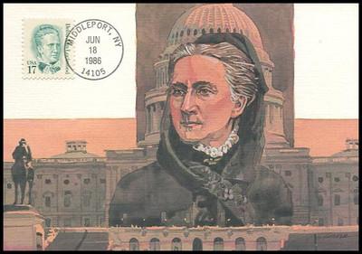 2178 / 17c Belva Ann Lockwood : Great Americans Series 1986 Fleetwood Maximum Card