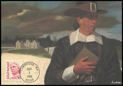 2190 / 56c John Harvard : Great Americans Series 1986 Fleetwood Maximum Card