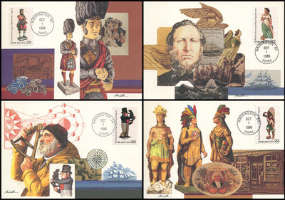 2240 - 2243 / 22c Woodcraved Figurines Set of 4 Fleetwood 1986 First Day of Issue Maximum Card
