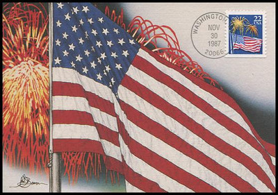 2276a / 22c Flag with Fireworks 1987 Fleetwood First Day of Issue Maximum Card