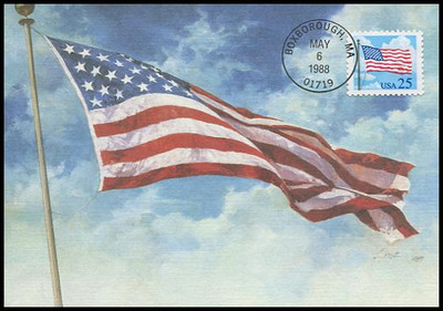 2278 / 25c American Flag 1988 Fleetwood First Day of Issue Maximum Card