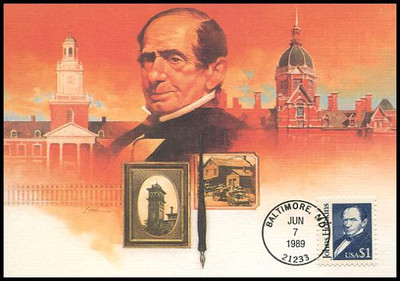 2194 / $1 John Hopkins : Great Americans Series 1989 Fleetwood First Day of Issue Maximum Card