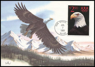 2540 / $2.90 Eagle and Olympic Rings Priority Mail 1991 Fleetwood First Day of Issue Maximum Card