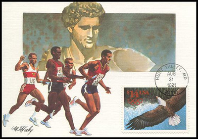 2542 / $14 Eagle and Olympic Rings Express Mail 1991 Fleetwood First Day of Issue Maximum Card