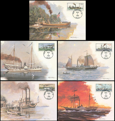 2405 - 2409 / 25c Steamboats Booklet Set of 5 Fleetwood 1989 First Day of Issue Maximum Card