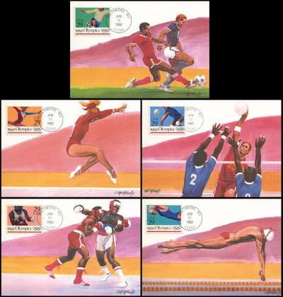 2637 - 2641 / 29c Summer Olympics Set of 5 Fleetwood 1992 First Day of Issue Maximum Card