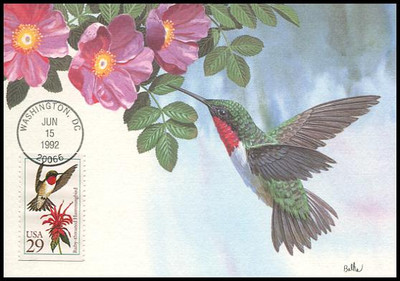 2642 - 2646 / 29c Hummingbirds Set of 5 Fleetwood 1992 First Day of Issue Maximum Card