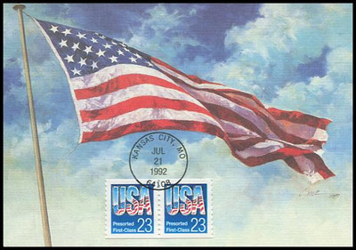 2606 / 23c USA Presorted First-Class Coil Pair 1992 Fleetwood First Day of Issue Maximum Card