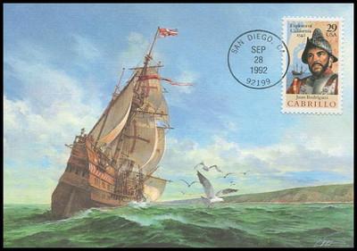 2704 / 29c Juan Rodriguez Cabrillo : Explorer of California 1992 Fleetwood First Day of Issue Maximum Card