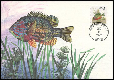 2481 / 45c Pumpkinseed Sunfish 1992 Fleetwood First Day of Issue Maximum Card