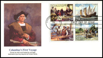 2623a / 29c First Voyage of Christopher Columbus Se-Tenant Block of 4 Fleetwood 1992 FDCs