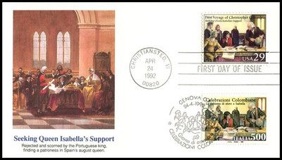 2620 - 2623 and 1877 - 1880 / 29c and 500 Lire First Voyage of Christopher Columbus Dual Joint Issue Set of 4 Fleetwood 1992 FDCs
