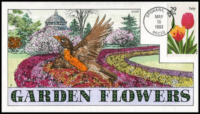 2760 - 2764 / 29c Spring Garden Flowers Set of 5 Collins Hand Painted 1993 FDCs