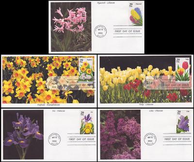 2760 - 2764 / 29c Spring Garden Flowers Set of 5 Mystic 1993 FDCs