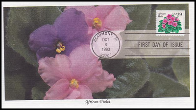 2486 / 29c African Violets Booklet Single 1993 Mystic FDC