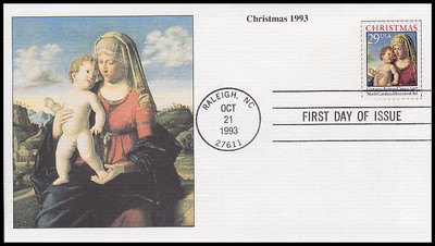 2789 / 29c Madonna and Child : Giovanni Batista Cima Sheet Issue : Christmas Series 1993 Mystic FDC