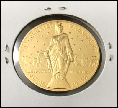 Dwight D. Eisenhower U.S. Mint Bronze Presidential Medal Electroplated with 24kt Gold #1