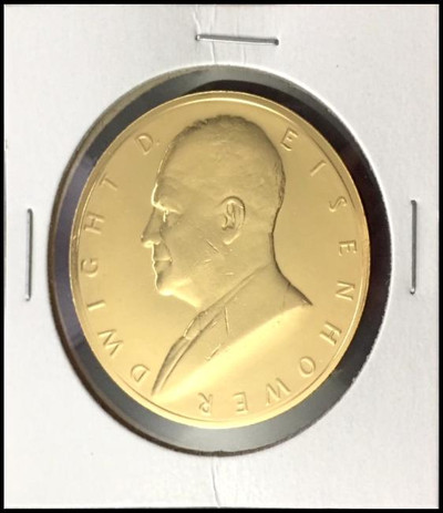 Dwight D. Eisenhower U.S. Mint Bronze Presidential Medal Electroplated with 24kt Gold #2