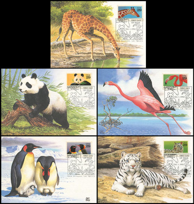 2705 - 2709 / 29c Wild Animals Set of 5 Fleetwood 1992 First Day of Issue Maximum Card