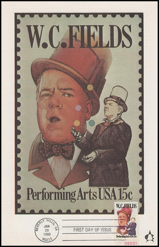 1803 / 15c W. C. Fields : Performing Arts Series 1980 Andrews Cachet Maxi Card FDC