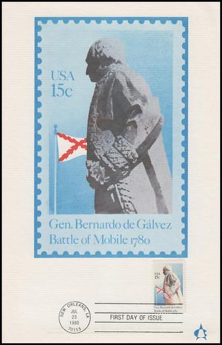 1826 / 15c General Bernardo de Galvez 1980 Andrews Cachet Maxi Card FDC