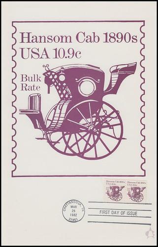 1904 / 10.9c Hansom Cab : Transportation Series 1982 Andrews Cachet Maxi Card FDC