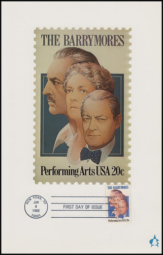2012 / 20c The Barrymores : Performing Arts Series 1982 Andrews Cachet Maxi Card FDC