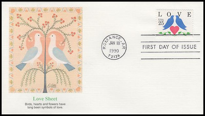 2440 / 25c Lovebirds and Heart Love Series 1990 Fleetwood First Day Cover