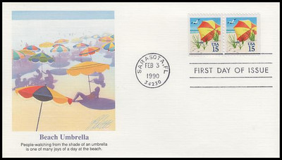 2443 / 15c Beach Umbrella Booklet Pair 1990 Fleetwood First Day Cover