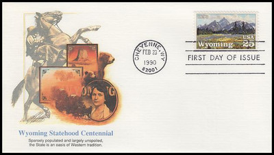 2444 / 25c Wyoming Statehood : Statehood Series 1990 Fleetwood First Day Cover