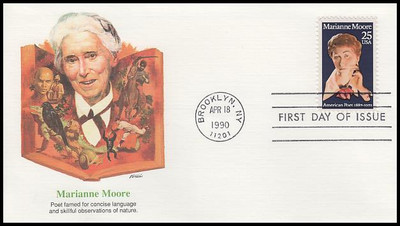 2449 / 25c Marianne Moore : Literary Arts Series 1990 Fleetwood First Day Cover