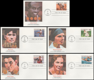 2496 - 2500 / 25c Olympians Set of 5 Fleetwood 1990 First Day Covers