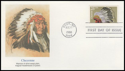 2501 - 2505 / 25c Indian Headdresses Artwork By Chris Calle Set of 5 Fleetwood 1990 FDCs
