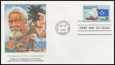 2506 - 2507 / 25c Federated States of Micronesia and Marshall Islands Set of 2 Fleetwood 1990 First Day Covers