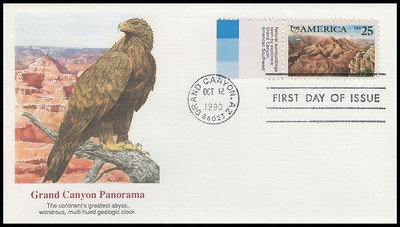 2512 / 25c Grand Canyon With Tabs : Americas Series Set Of 2 Fleetwood 1990 First Day Covers