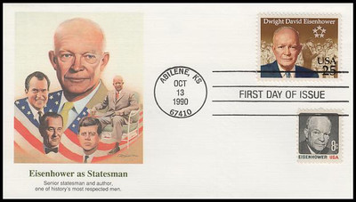 2513 / 25c Dwight David Eisenhower : His Life Set of 6 Fleetwood 1990 First Day Covers