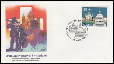 2532 / 50c Founding of Switzerland 1991 Fleetwood First Day Cover